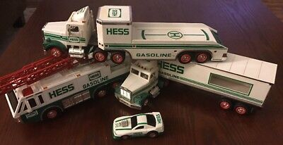 Collectible Hess Trucks And Car LOT OF 4 1992, 1995, 1996, 1997 White Green