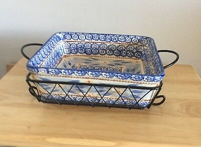 Temp-Tations By Tara Old World Blue Square Presentable Ovenware W/ Server 2.5 Qt