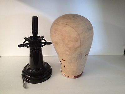 Vtg Millinery Canvas Mannequin Head Block Hat Wig Stand Maker Form With Mount