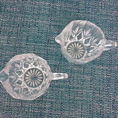 Set of 2 Vintage Clear Cut Glass Crystal Creamer Milk Small Pitcher Perfect
