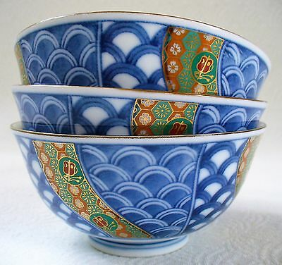 3~IMARI Style~Blue~White~Footed Rice Bowls~Gold Stencil~Fish scale design~JAPAN
