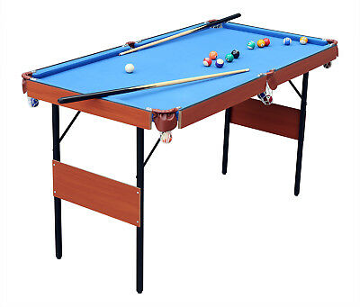 "55"" Kids Indoor Folding Pool Billiard With Ball Cue Set Snooker Table Game Table"