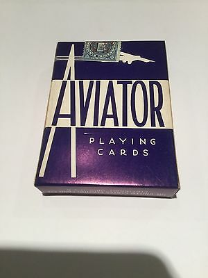 Blue AVIATOR Playing Cards ~ Vintage, w/MONO airplane(older) ~ SEALED/stamped