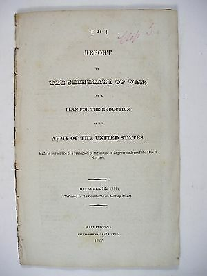 1820 Plan for the Reduction of the U. S. Army. Includes Charts of Soldiers