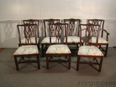 44183:Solid Mahogany Set of 7 Chippendale Dining Chairs