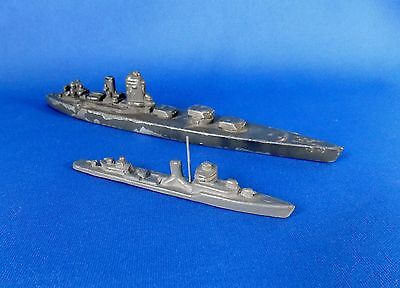 Set of 2 WWII Recognition or Spotter Model Ships; German Wiking Models-as found
