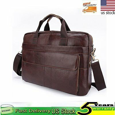 Men Genuine Leather Handbag Shoulder Messenger Laptop Tote Bag Briefcase Satchel
