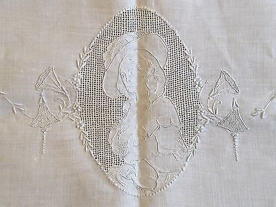 Antique Cutwork and Embroidery Square Linen Tablecloth - Victorian Woman