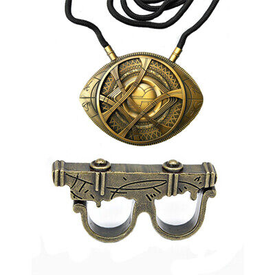 Dr 1:1 Doctor Strange Ring + Necklace Eye of Agamotto Pendant Cosplay Props