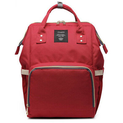 Red Multifunctional Baby Diaper Nappy Backpack Maternity Large Capacity Bag