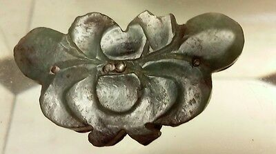 Antique Chinese Jade Lotus Carving Silver Pin/ Brooch