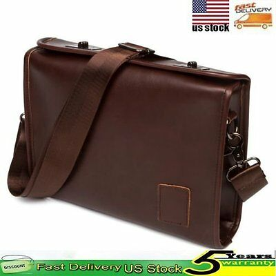 Men's Retro Briefcase Leather Handbag Shoulder Satchel Messenger Laptop Tote Bag
