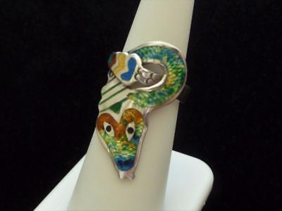 Amazing Vintage Sterling Silver & Enamel SNAKE Ring by Jose Frederico JF Mexico