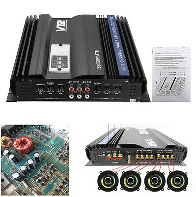 New 12V 3800 Watt Car Audio Power Stereo Amplifier RMS 4 CH Channel Powerful Amp