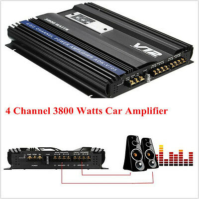 High Power 3800 Watts 4 Channel Universal Car Amplifier V12 Audio Aluminum Alloy