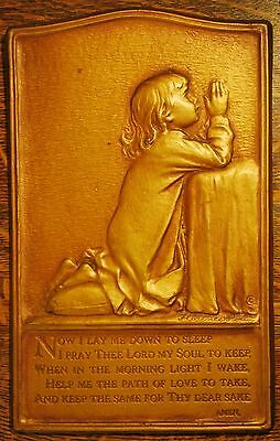 Vintage Prayer Plaque Girls Room Now I Lay Me Down To Sleep Faux Bronze Perin