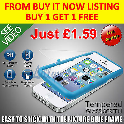 For Apple iPhone 5S/5 Genuine Tempered Glass Film Screen Protector LCD Guard-1f