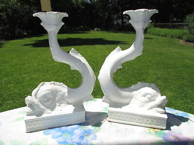 Antique Dolphin Majolica Candle Stick Holders White Glaze Impressive Italy
