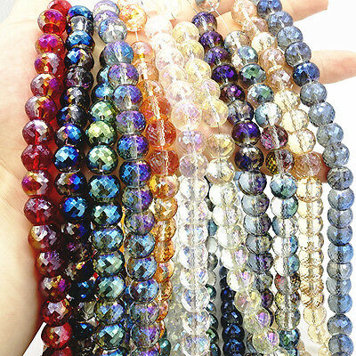 Wholesale 10pcs Drum Faceted Rondelle crystal glass Loose beads 12mm DIY