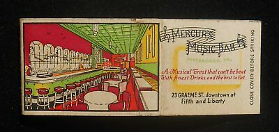 1940s Mercur's Music Bar A Musical Treat That Can't Be Beat Pittsburgh PA MB
