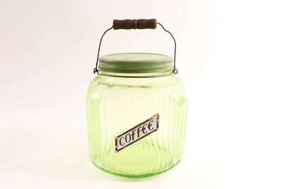 Old Antique Vaseline Green Glass Coffee Jar Canister With Wood & Wire Bail Handl