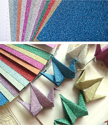 ORIGAMI Glitter 5cm x 5cm 10 Colors Craft Paper (4 pack = total 40 Sheets)