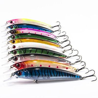 Lot Laser Internal Coloring Minnow Floating Fishing Lures Bass CrankBait Rattles