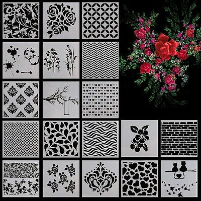 Wall Painting Grain Stencil Vintage Pattern Reusable Paint Stencil DIY Decor POP