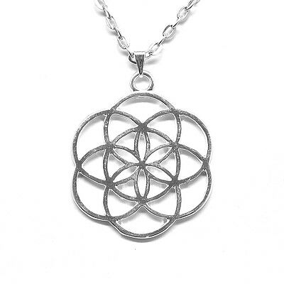Flower of Life Pendant Necklace  with 26inch Oval Silver Plated Chain