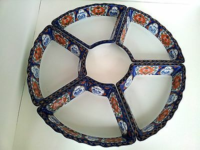 Antique Hand Painted Five Japanese Imari Style Porcelain Serving Trays