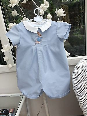 Baby Clothes Peter Rabbit - Traditional Classic Short Length Romper Powder Blue