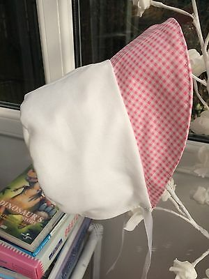 Baby Bonnet - Pink And White - 6-12M