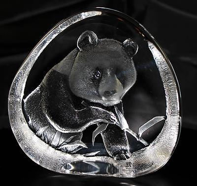 Hand Etched Crystal Panda & Bamboo - Mats Jonasson - New From Gallery - (18451)