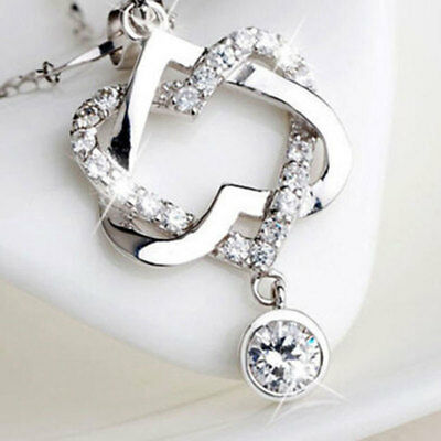 925 Silver Plated Fashion Women Double Heart Pendant Necklace Chain Jewelry X S