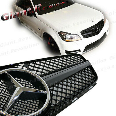 Painted Gloss Black Fin Front Hood Grille For 12-14 BENZ W204 C200 C300 Sedan 4D