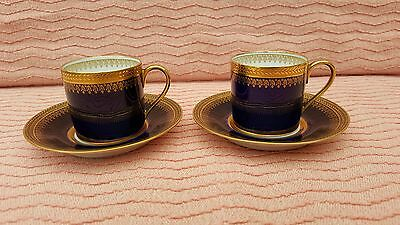 Stunning Pair Of Limoges Charles Ahrenfeldt Coffee Cans & Saucers.