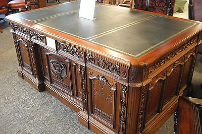 Reproduction Presidents Desk - Mahogany Desk with faux leather top