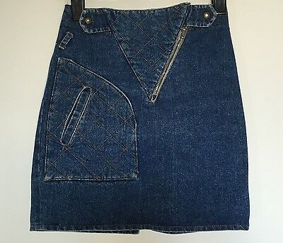 Gonna jeans corta 38 40 blu skirt usata modificata vintage T912