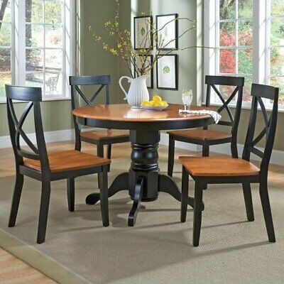Home Styles 5 Piece Round Pedestal Dining Table Set Black and Cottage Oak Finish