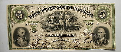 1861  Bank of the State of South Carolina $5 Five Dollars Obsolete, CHAU ! (289)