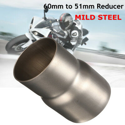 Universal 60mm to 51mm Steel Motorcycle Exhaust Adapter Reducer Connector Pipe
