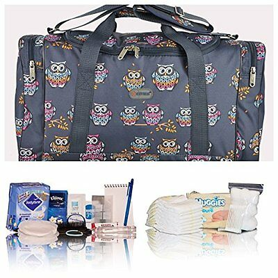 Navy owl pre-packed budget hospital/maternity bag mum-to-be newborn baby shower