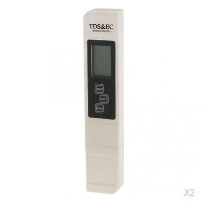 2pcs 3 en 1 EC PH TEMP Test Meter Digital Pen Water Quality Tester Monitor