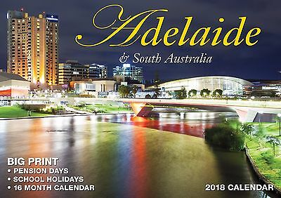 Adelaide 2018 Big Print Wall Calendar NEW by Bartel Calendars - Postage Included