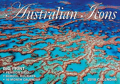Australian Icons 2018 Big Print Wall Calendar NEW by Bartel - Postage Included