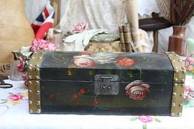Stunning Hand Painted Floral Studded Wooden Chest Box for Haberdashery