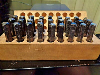 """27 pc VINTAGE STEEL STAMP PUNCH LETTERS SET MACHINIST 1/4"""""""