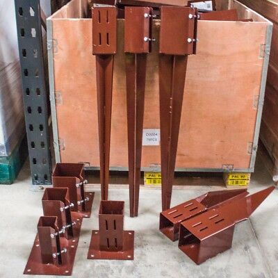 """STEEL FENCE POST HOLDERS Garden Spikes/Shoes 2""""/3""""/4"""" Support Stakes Drive In"""