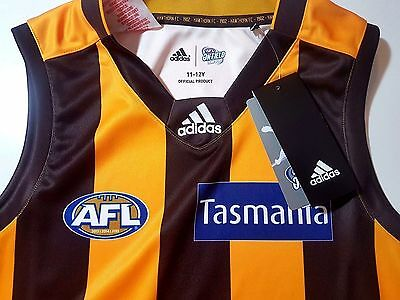 HAWTHORN HAWKS GUERNSEY YOUTH ADIDAS AFL Official On Field Gear Football RRP$100