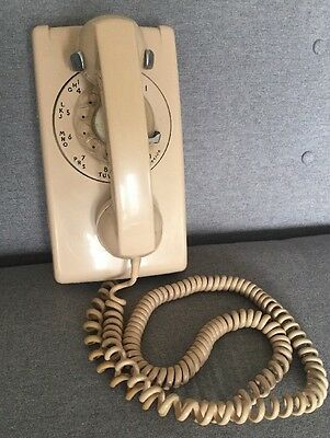 Vintage Western Electric Bell System Beige Tan Telew Rotary Wall Phone